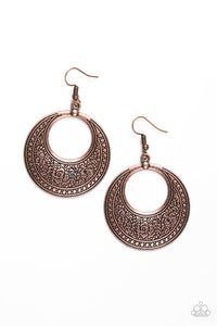"Paparazzi ""Floral Frontier"" Copper Floral Detail Hoop Earrings Paparazzi Jewelry"