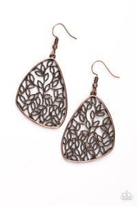 "Paparazzi ""Time To LEAF"" Copper Leaf Filigree Earrings Paparazzi Jewelry"