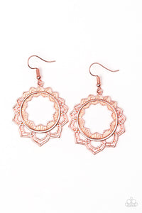 "Paparazzi ""Modest Mandalas"" Copper Petal Floral Hoop Earrings Paparazzi Jewelry"