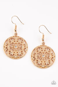 "Paparazzi ""Rochester Royale"" Gold Filigree White Rhinestone Round Earrings Paparazzi Jewelry"