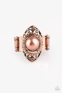 "Paparazzi ""Pearl Posh"" Copper Ornate Frame Pearl Rhinestone Ring Paparazzi Jewelry"