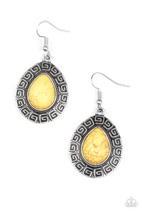 "Paparazzi ""Tribal Tango"" Yellow Stone Silver Teardrop Earrings Paparazzi Jewelry"
