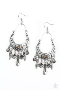 "Paparazzi ""Nature Escape"" Orange Rhinestone Silver Floral Hoop Earrings Paparazzi Jewelry"