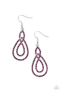 "Paparazzi ""Sassy Sophistication"" Purple Rhinestone Silver Teardrop Hoop Earrings Paparazzi Jewelry"