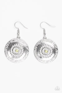 "Paparazzi ""Peppy Poppy"" Yellow Rhinestone Floral Daisy Silver Earrings Paparazzi Jewelry"