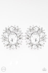 "Paparazzi ""Serious Star Power"" White Ornate Design Gem Silver Clip On Earrings Paparazzi Jewelry"