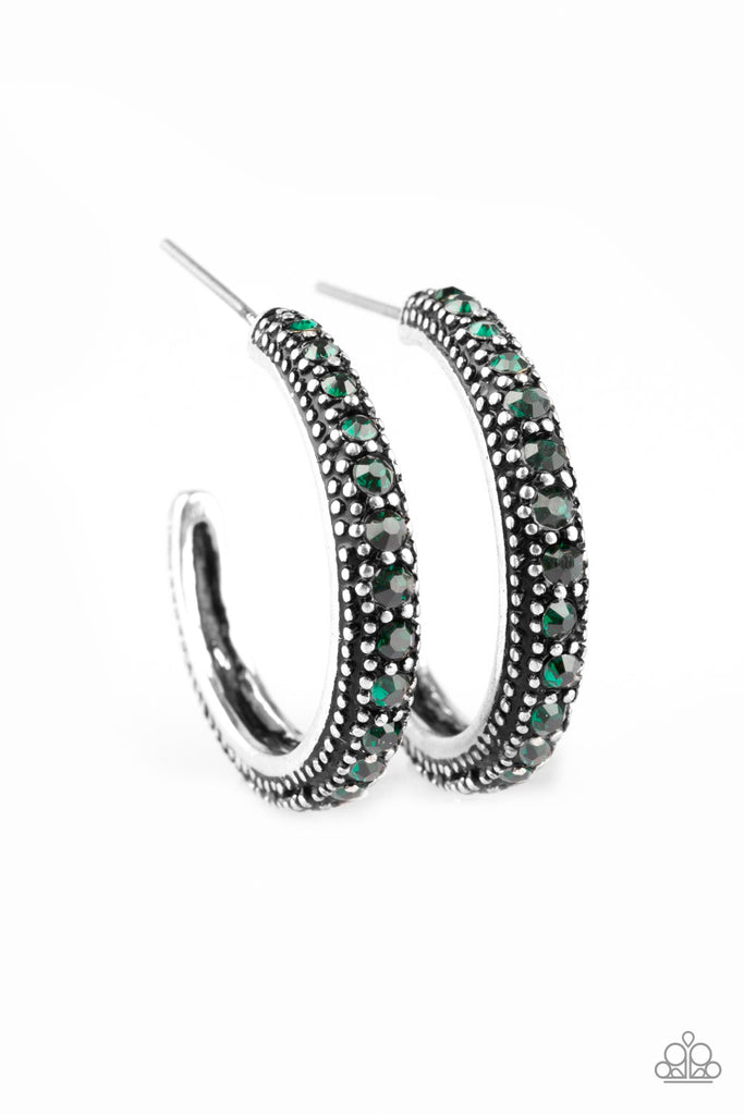 paparazzi twinkling tinseltown green rhinestone studded silver hoop marissa 39 s bling on a budget. Black Bedroom Furniture Sets. Home Design Ideas