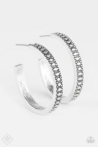 "Paparazzi ""Playfully Peruvian"" FASHION FIX Simply Santa Fe September 2018 Silver Tribal Design Hoop Earrings Paparazzi Jewelry"