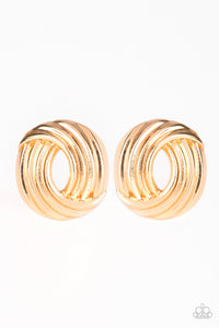 "Paparazzi ""Rare Refinement"" Gold Ribbon Design Post Earrings Paparazzi Jewelry"