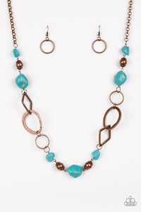 "Paparazzi ""Thats TERRA-ific!"" 2018 Fall Collection Turquoise Stone Copper Hoop Necklace & Earring Set Paparazzi Jewelry"