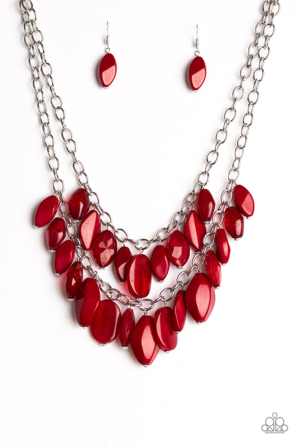 silver hoop necklace /& Earrings Paparazzi Jewelry pearly red bead