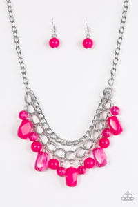 "Paparazzi ""Brazilian Bay"" Pink Bead Layered Silver Chain Necklace & Earring Set Paparazzi Jewelry"