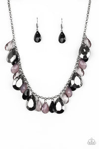 "Paparazzi ""Hurricane Season"" Black & Gunmetal Faceted Bead Necklace & Earring Set Paparazzi Jewelry"