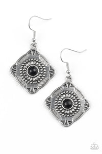 "Paparazzi ""Fiercely Four Corners"" Black Stone Dot Square Silver Earrings Paparazzi Jewelry"