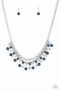 "Paparazzi ""You May Kiss The Bride"" Blue Pearl and Rhinestone Silver Necklace & Earring Set Paparazzi Jewelry"