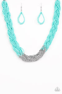 "Paparazzi ""Brazilian Brilliance"" Blue Turquoise & Silver Braided Seed Bead Necklace & Earring Set Paparazzi Jewelry"