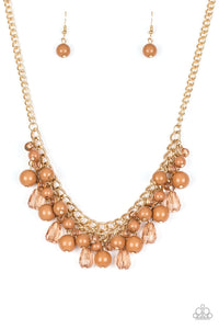 "Paparazzi ""Tour de Trendsetter"" Brown Glassy and Polished Bead Gold Necklace & Earring Set Paparazzi Jewelry"