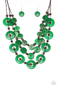 "Paparazzi ""Catalina Coastin"" Green Iridescent Wooden Disc Brown Bead Necklace & Earring Set Paparazzi Jewelry"