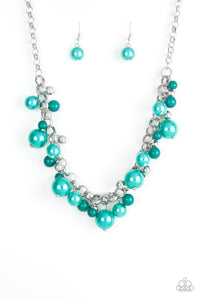 "Paparazzi ""The Upstater"" Green Faux Pearl White Bead Necklace & Earring Set Paparazzi Jewelry"