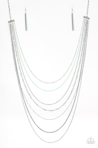 "Paparazzi ""Radical Rainbows"" Multi Gray Green and Silver Chain Long Necklace & Earring Set Paparazzi Jewelry"