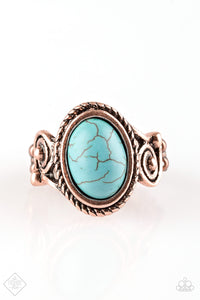 "Paparazzi ""Cactus Creek"" FASHION FIX Simply Santa Fe June 2018 Copper Ornate Frame Blue Turquoise Stone Ring Paparazzi Jewelry"