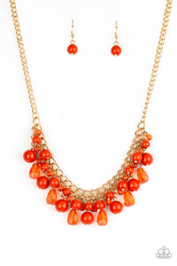 "Paparazzi ""Tour de Trendsetter"" Orange Glassy and Polished Bead Gold Necklace & Earring Set Paparazzi Jewelry"