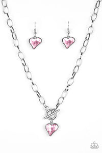 "Paparazzi ""Princeton Princess"" Pink Gem Heart Toggle Valentine Necklace & Earring Set Paparazzi Jewelry"