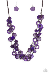 "Paparazzi ""Wonderfully Walla Walla"" Purple Wooden Bead Brown Cord Necklace & Earring Set Paparazzi Jewelry"