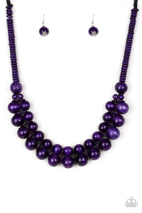 "Paparazzi ""Caribbean Cover Girl"" Purple Wooden Bead Necklace & Earring Set Paparazzi Jewelry"