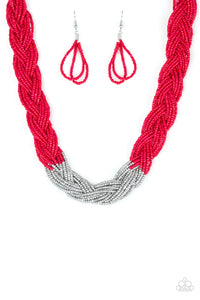 "Paparazzi ""Brazilian Brilliance"" Red Silver Accent Seed Bead Necklace & Earring Set Paparazzi Jewelry"