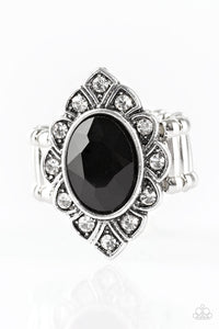 "Paparazzi ""Power Behind The Throne"" Black Faceted Gem White Rhinestone Silver Ornate Ring Paparazzi Jewelry"