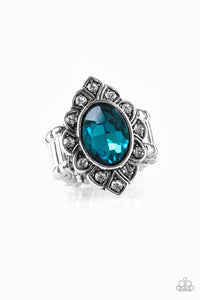 "Paparazzi ""Power Behind The Throne"" Blue Faceted Gem White Rhinestone Silver Ornate Ring Paparazzi Jewelry"
