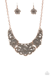 "Paparazzi ""Petunia Paradise"" Copper Lattice Like Floral Necklace & Earring Set Paparazzi Jewelry"