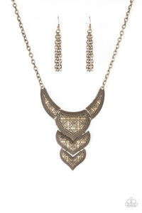 "Paparazzi ""Texas Temptress"" Brass Floral Etched Plate Necklace & Earring Set Paparazzi Jewelry"