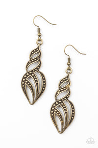 "Paparazzi ""Wheres The Fire?"" Brass Studded Flame Design Earrings Paparazzi Jewelry"