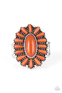 "Paparazzi ""Cactus Cabana"" Orange Stone Silver Floral Ring Paparazzi Jewelry"