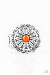 "Paparazzi ""Daringly Daisy "" Orange Bead Silver Floral Ring Paparazzi Jewelry"