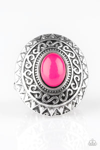 "Paparazzi ""Hello, Sunshine"" Pink Stone Sunburst Design Silver Ring Paparazzi Jewelry"