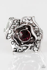"Paparazzi ""Glowing Gardens"" Purple Gem Antiqued Silver Petal Flower Ring Paparazzi Jewelry"