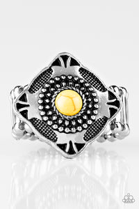 "Paparazzi ""Four Corners Fashion"" Yellow Stone Square Studded Embossed Silver Ring Paparazzi Jewelry"