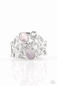 "Paparazzi ""Summer Yacht"" Purple Moonstone White Rhinestone Silver Ring Paparazzi Jewelry"