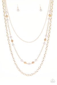 "Paparazzi ""Classical Cadence"" Gold and Silver Pearly Bead Long Necklace & Earring Set Paparazzi Jewelry"