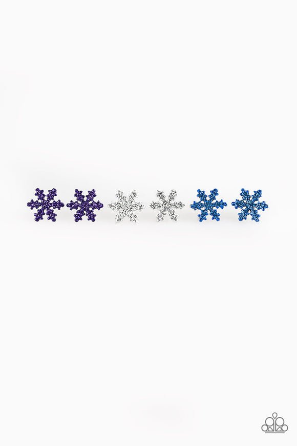 Girl's Starlet Shimmer Christmas Multi Color Glitter Snowflake Set of 5 Sparkle Silver Post Earrings Paparazzi Jewelry