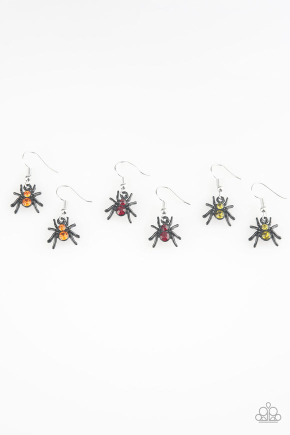 Girl's Starlet Shimmer Set of 5 Halloween Black Spider Multicolor Rhinestone Dangle Earrings Paparazzi Jewelry