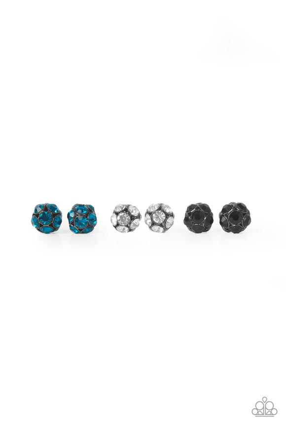 Girl's Starlet Shimmer Silver Multi Color Rhinestone Disco Ball Stud Faceted Gem Set of 5 Silver Post Earrings Paparazzi Jewelry