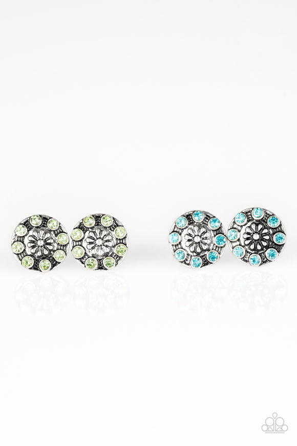 Girl's Starlet Shimmer Set of 5 Multi Color Rhinestone Snowflake Floral Silver Post Earrings Paparazzi Jewelry