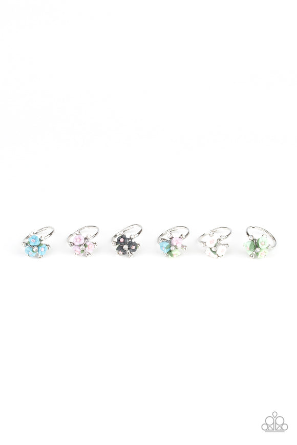 Girl's Starlet Shimmer 10 for $10 Iridescent Blue Green Pink Purple and White Rhinestone Flower Bouquet Silver Rings Paparazzi Jewelry