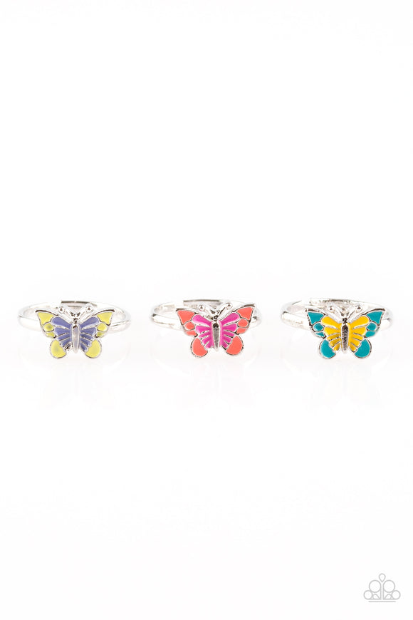 Girl's Starlet Shimmer Set of 5 Multi Color Silver Butterfly Rings Paparazzi Jewelry