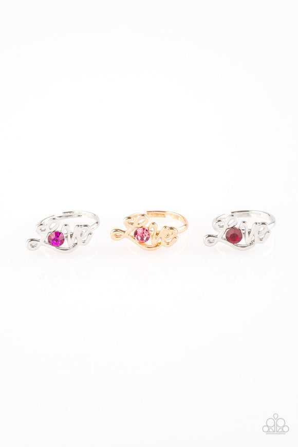 Girl's Starlet Shimmer Set of 5 Multi Color Rhinestone LOVE Cursive Valentine Silver Gold Rings Paparazzi Jewelry