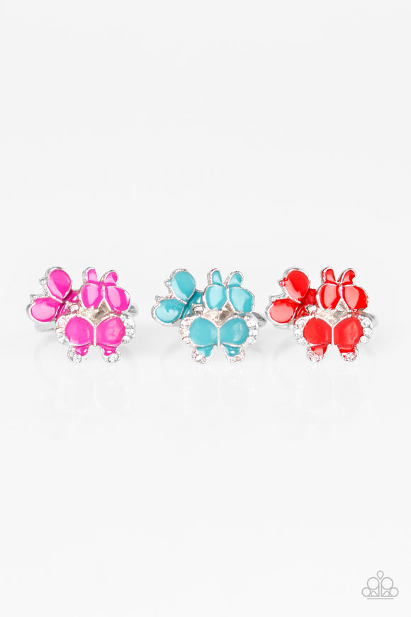 Girl's Starlet Shimmer Set of 5 Multi Color White Rhinestone Butterfly Silver Rings Paparazzi Jewelry